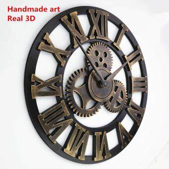Harga Baffect decorative luxury big gear wooden vintage large wall clock