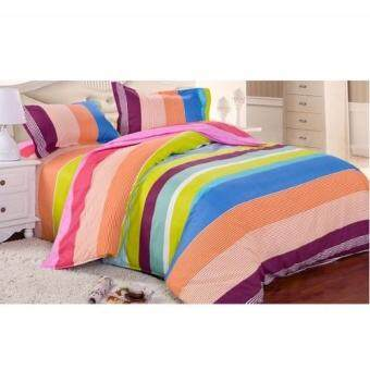 Harga Buy One get One Free! Velvet-Cotton Quilt Cover & Bed Sheet Queen Set (Paradise Rainbow)