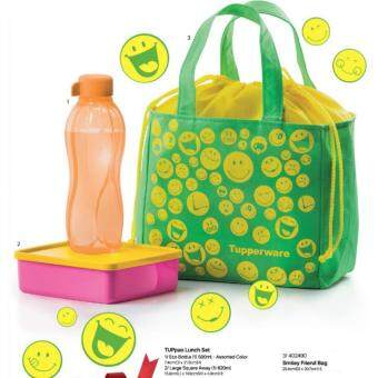 Harga TUPPERWARE TUPpao LUNCH SET (500ML ECO WATER BOTTLE + LARGE SQUARE AWAY 620ml FOOD CONTAINER + SMILEY FRIEND BAG)