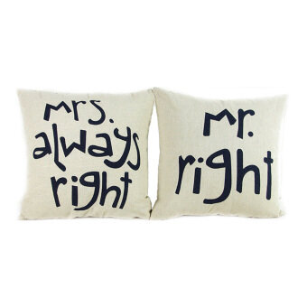 Harga Mr Right and Mrs Always Right Throw Pillow Case Set of 2 (White)