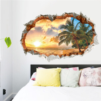Harga Sunshine 3D Beach Wall Sticker Decal Art Decor Vinyl Home Room Window Door Mural