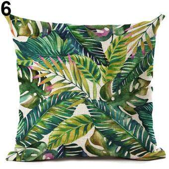 Harga Broadfashion Tropical Green Plant Leaves Flower Linen Cushion Cover Pillow Case Home Decor 6 Green Leaves