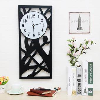 Harga Record when the wind silent art design wall clock modern living room garden wall charts home decorating ideas watch wood hollow new quartz clock black,Black