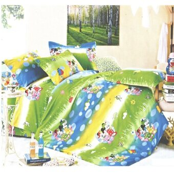 Harga Matahari Single Fitted Bed Sheet 100% Cotton (4pcs)- Mickey Mouse Green (HOMEMADE)
