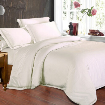 Harga Essina 100% Egyptian cotton Royale 950TC Fitted Bedsheet set+Quilt Cover - WHITE OPAL