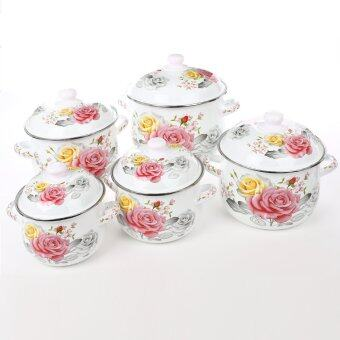 Harga Large Size 18/20/22/24/26CM enameled Pinky Rose art casserole cookware set with lid -10 piece