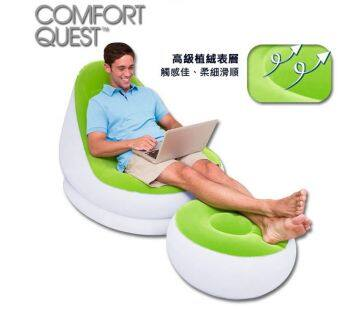 Harga Bestway Single Sofa Inflatable Relaxing Air Chair + Foot Rest Lounge [bc108]- (Light Green)
