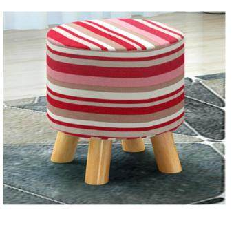 Harga Modern Wooden Stool Ottomans (Red)