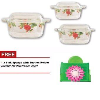 Harga Giacomo 3 unit decorated borosilicate square casserole set (Matissa Design)