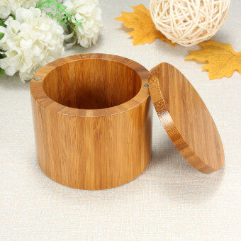 Harga Natural Bamboo Round Salt Box Jar Modern Kitchen Storage Case With Magnet Lid