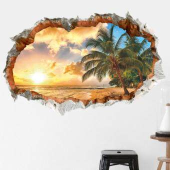 Harga GETEK 3D Beach Sunshine Wall Sticker Decal Home Office Mural (Multicolor)