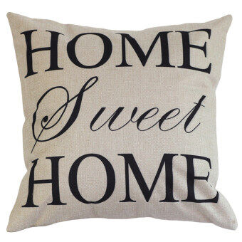 Harga High Quality New Home Cotton Linen Letter Sunshine Throw Sofa Pillow Case Car Cushion Cover (White)