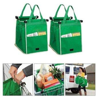Harga Modern Age 2 Pieces Grocery Grab Shopping Bag Foldable Tote Eco-friendly Reusable Large Trolley Supermarket Large Capacity Bags