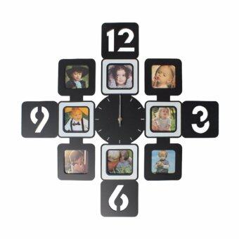 Harga LivingCabinet Fashion Decorative Wooden 8 Pictures Photo Frame Silent Wall Clock (Black)