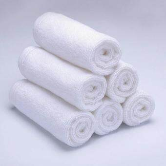 Harga Pack of 6 Face Towels White Hotel (For Adults) 100% Cotton Anti-Bacterial 30 x 30 cm