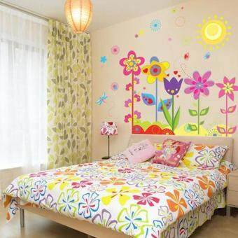 Harga Hang-Qiao Removable Flowers Sunshine Wall Sticker Decal Room Decor