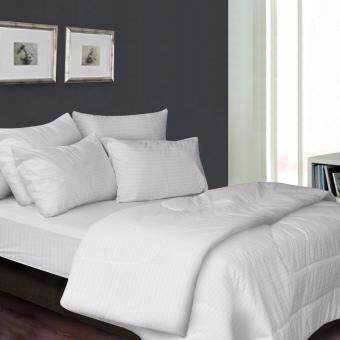 Harga Essina 100% Cotton 680TC Fitted Bedsheet set 33cm + Comforter - Palette WHITE Queen size