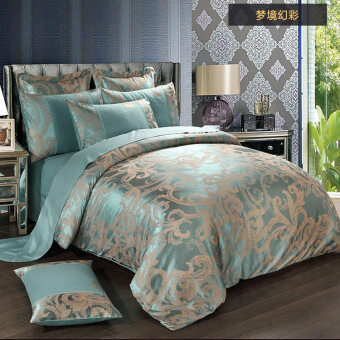 Harga Cotton Satin Jacquard Cotton Hollow Wedding Four Piece Quilt 220 x 240cm Sheets 250 * 270cm
