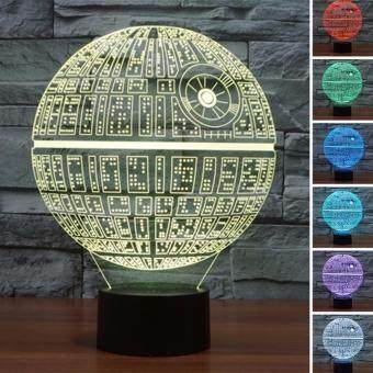 Harga DEPERO 1pcs/set 3D Novelty Light Star Wars Death Star 7 Colors Changing LED Lamp Luminaria 3D Lights Action Figure Kids Gift Toy