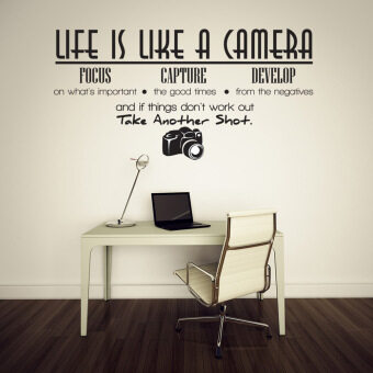 Harga Creative Life Is Like A Camera Quote Wall Stickers Decals Office Mural DIY