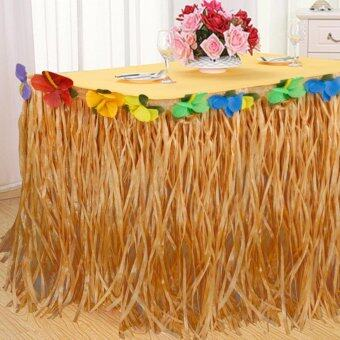 Harga Good Service 9ft Tropical Hawaiian Luau Table Grass Skirt with Flower BBQ Party Decorations