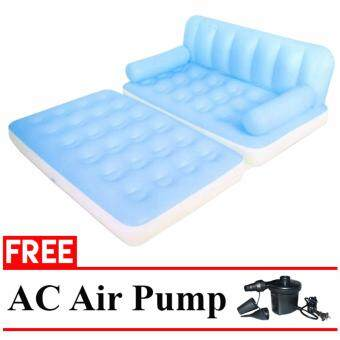 Harga Bestway 5 in 1 Two Seater Couch Settee Air Sofa Double Bed Mattress + AC Electric Air Pump (BLue)