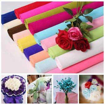 Harga 250x50cm 1 Roll DIY Flower Making Crepe Papers Wrapping Flowers Packing Material Handmade Diy Wrapping Paper Craft Decor XHH8133-6