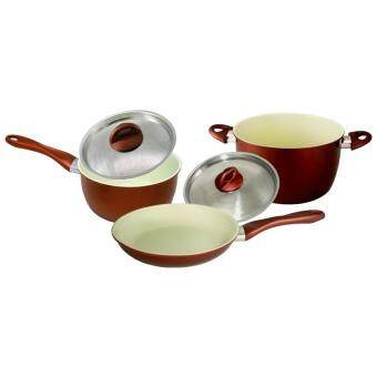 Harga [Set of 3] Ceramic Coating Frying Pan 20cm + Sauce Pan 18cm + Casserole 24cm Set
