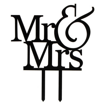 "Harga Vanker Acrylic Initial ""Mr&Mrs"" Engagement Wedding Love Cake Topper Party Favors D??cor"