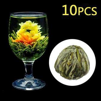 Harga 10 Pcs Handmade Blooming Flower Green Tea Ball Art Home Decor