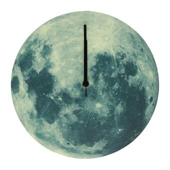 Harga Creative Glow In The Dark Luminous Moon Wall Clock Watch Home Living Room Decor