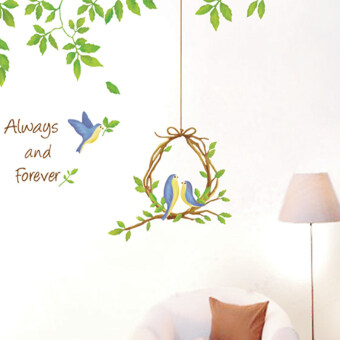 Harga Always and Forever Love Birds Wall Decal Home Sticker House Decoration WallPaper Removable Living Dinning Room Bedroom Kitchen Art Picture Murals DIY Stick Girls Boys kids Nursery Baby Playroom Decoration