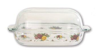 Harga Giacomo 5.7L Decorated Oblong Borosilicate Glass Casserole - Majestic Rose