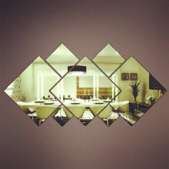 Harga Square mirror wall sticker for living room bathroom movable wall sticker SILVER