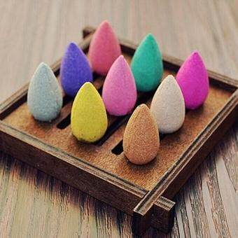 Harga Broadfashion 50Pcs/Pack Rose Lavender Jasmine Backflow Smoke Aromatherapy Tower Incense Cones