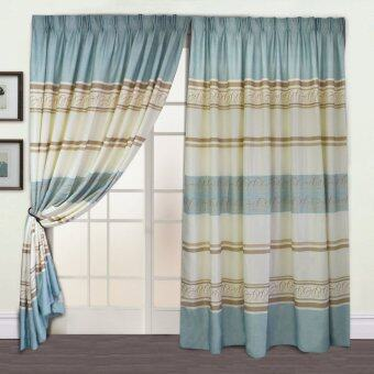 Harga Essina Blackout French Pleated Curtain - Sando Green (Fit sliding door from 240cm - 310 cm width)