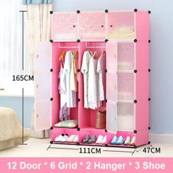 Harga COLESHOME [NP144] High Quality Portable Wardrobe Cubes Design DIY Clothes Storage Dust And Water Resistance (111cm x 47cm x 165cm)