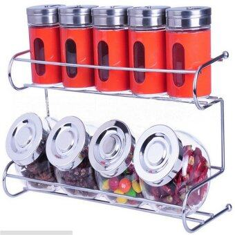 Harga Kitchen Spice Container Set with Rack Holder (Red)
