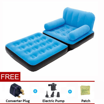 Harga BESTWAY (67277) 5 in 1 Multifunction Inflatable Air Sofa Single Bed Mattress [bc124]- (Blue) - Premium