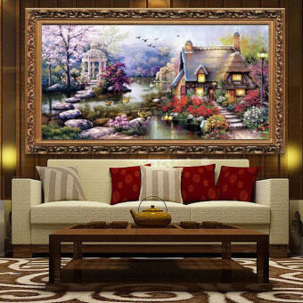 Harga DIY Handmade Needlework Cross Stitch Set Embroidery Kit Precise Printed Garden Cottage Design Cross-Stitching 64 * 37cm Home Decoration