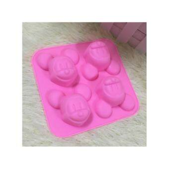 Harga 4-cavity Mickey Mouse Silicone Mold | Chocolate Moulds | Jelly Molds | DIY Silicon Soap Molds