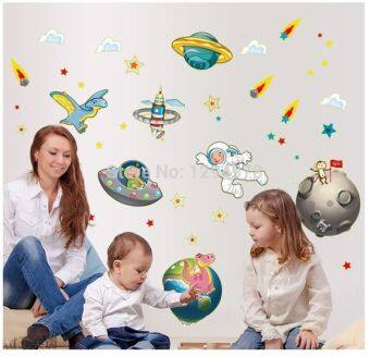 Harga ABQ9611 1Pcs Space Travel Rocket flying saucer UFO Comet Astronauts Earth Moon fluorescent Wall Stickers Room