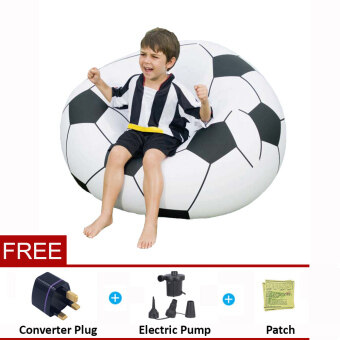 Harga BESTWAY (75010) Beanless Soccer Ball Inflatable Chair [bc63]- (Black White) - Premium