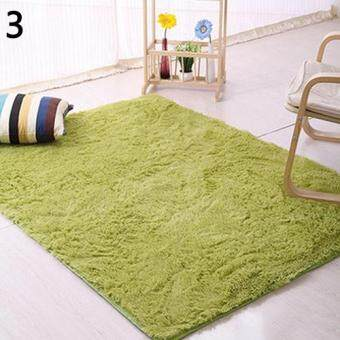 Harga Broadfashion Modern Candy Color Soft Anti-Skid Carpet Flokati Shaggy Rug Living Bedroom Floor Mat 120cm by 160cm (Grass Green)