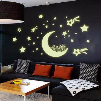Harga Glow in Dark Moon Star Removable Wall Sticker Vinyl Decal Mural Kids Room Decor