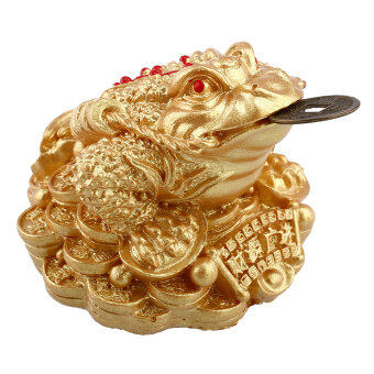 Harga Gold Feng Shui Money LUCKY Fortune Wealth Chinese I Ching Frog Toad Coin Decor