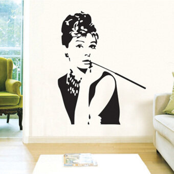 Harga LT365 Audrey Hepburn Wall Sticker Removable Wall Decor(90x60CM)