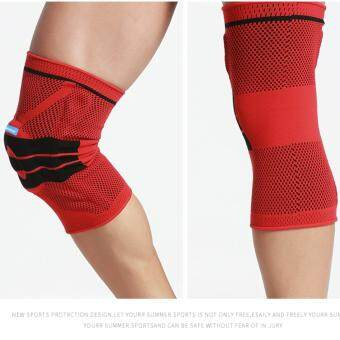 Harga Silicon gel Elastic Knee Support Brace Protector Knee Pad Guard Knee Pad 1-piece Set (Red)