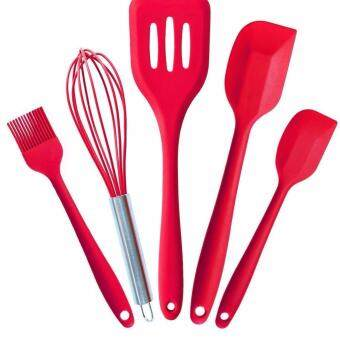 Harga 5 Piece Heat Resistant Silicone Kitchen Utensils Set in Hygienic Solid Coating Including One Turner ,One Large Spatula, One Small Spatula,One Basting Brush, One Whisk (Cherry Red)
