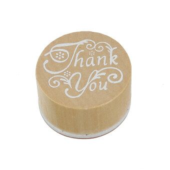 Harga Round Handwriting Wishes Wooden Rubber Stamps Floral Thank You